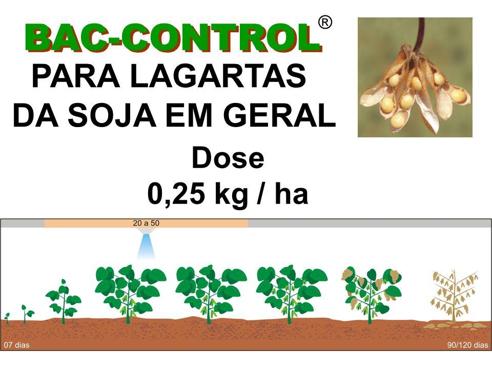 BAC-CONTROL ® SOJA APLICAÇÃO Aérea (barra)- vazão de 20 a 40 L / ha (micronair) - vazão de 10 a 20 L / ha Terrestre - vazão mínima 120 L / ha Via pivot - lâmina dágua 8 a 12 mm