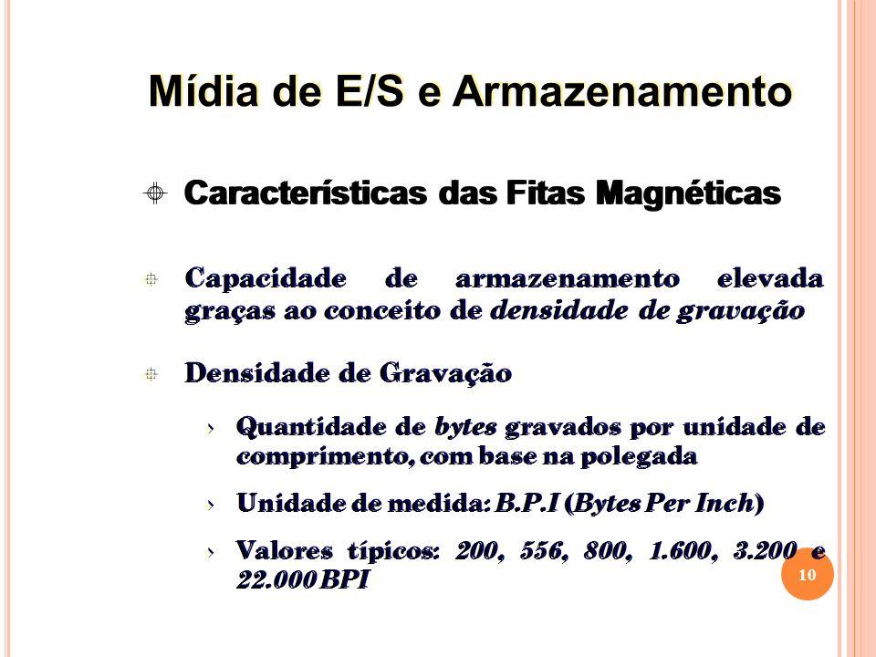 Capacidade de armazenamento elevada graças ao conceito de densidade de gravação Densidade de Gravação Quantidade de bytes gravados por unidade de comprimento, com base na polegada Unidade de medida: B.P.I ( Bytes Per Inch ) Valores típicos: 200, 556, 800, 1.600, 3.200 e 22.000 BPI Capacidade de armazenamento elevada graças ao conceito de densidade de gravação Densidade de Gravação Quantidade de bytes gravados por unidade de comprimento, com base na polegada Unidade de medida: B.P.I ( Bytes Per Inch ) Valores típicos: 200, 556, 800, 1.600, 3.200 e 22.000 BPI 10 Características das Fitas Magnéticas Mídia de E/S e Armazenamento