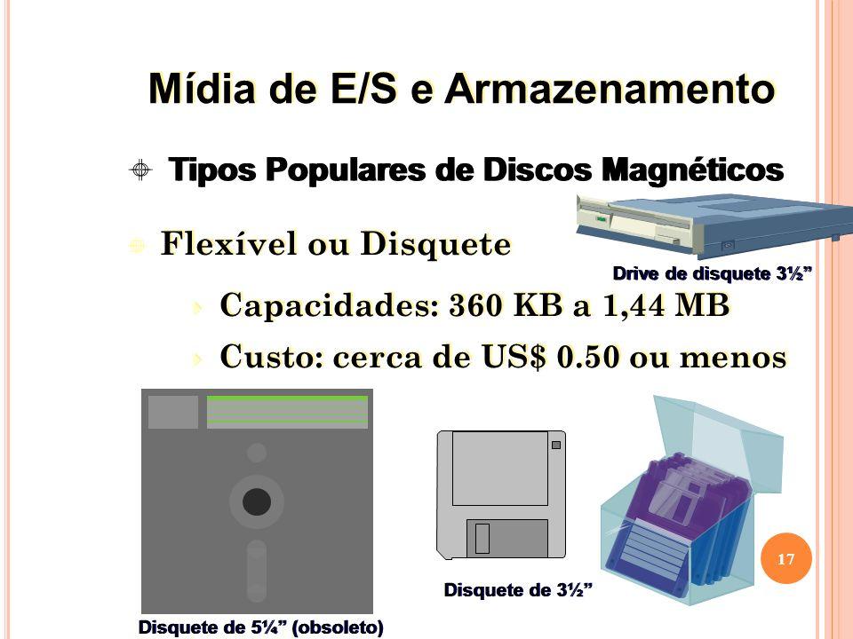 Flexível ou Disquete Capacidades: 360 KB a 1,44 MB Custo: cerca de US$ 0.50 ou menos Flexível ou Disquete Capacidades: 360 KB a 1,44 MB Custo: cerca de US$ 0.50 ou menos 17 Tipos Populares de Discos Magnéticos Disquete de 5¼ (obsoleto) Disquete de 3½ Drive de disquete 3½ Mídia de E/S e Armazenamento