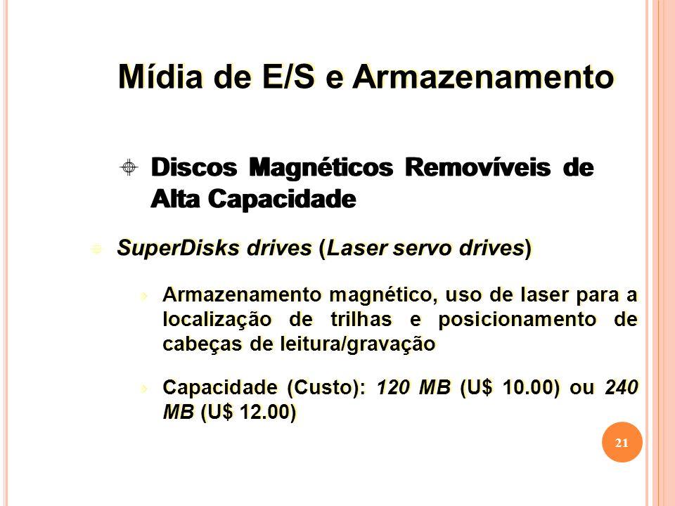 21 SuperDisks drives (Laser servo drives) Armazenamento magnético, uso de laser para a localização de trilhas e posicionamento de cabeças de leitura/gravação Capacidade (Custo): 120 MB (U$ 10.00) ou 240 MB (U$ 12.00) SuperDisks drives (Laser servo drives) Armazenamento magnético, uso de laser para a localização de trilhas e posicionamento de cabeças de leitura/gravação Capacidade (Custo): 120 MB (U$ 10.00) ou 240 MB (U$ 12.00) Discos Magnéticos Removíveis de Alta Capacidade Mídia de E/S e Armazenamento