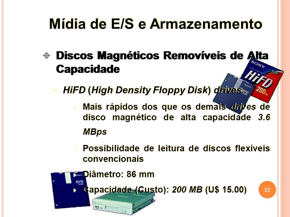 22 Discos Magnéticos Removíveis de Alta Capacidade HiFD (High Density Floppy Disk) drives Mais rápidos dos que os demais drives de disco magnético de alta capacidade 3.6 MBps Possibilidade de leitura de discos flexíveis convencionais Diâmetro: 86 mm Capacidade (Custo): 200 MB (U$ 15.00) HiFD (High Density Floppy Disk) drives Mais rápidos dos que os demais drives de disco magnético de alta capacidade 3.6 MBps Possibilidade de leitura de discos flexíveis convencionais Diâmetro: 86 mm Capacidade (Custo): 200 MB (U$ 15.00) Mídia de E/S e Armazenamento
