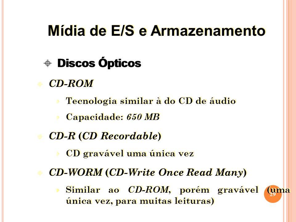 CD-ROM Tecnologia similar à do CD de áudio Capacidade: 650 MB CD-R ( CD Recordable ) CD gravável uma única vez CD-WORM ( CD-Write Once Read Many ) Similar ao CD-ROM, porém gravável (uma única vez, para muitas leituras) CD-ROM Tecnologia similar à do CD de áudio Capacidade: 650 MB CD-R ( CD Recordable ) CD gravável uma única vez CD-WORM ( CD-Write Once Read Many ) Similar ao CD-ROM, porém gravável (uma única vez, para muitas leituras) 29 Discos Ópticos Mídia de E/S e Armazenamento