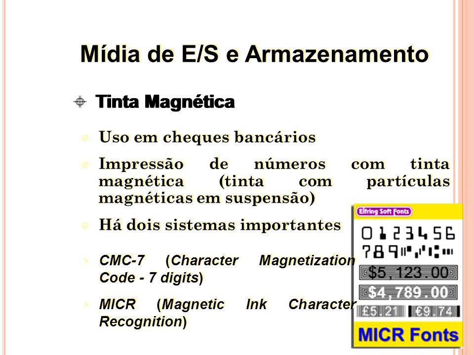 Uso em cheques bancários Impressão de números com tinta magnética (tinta com partículas magnéticas em suspensão) Há dois sistemas importantes Uso em cheques bancários Impressão de números com tinta magnética (tinta com partículas magnéticas em suspensão) Há dois sistemas importantes 34 Tinta Magnética CMC-7 (Character Magnetization Code - 7 digits) MICR (Magnetic Ink Character Recognition) CMC-7 (Character Magnetization Code - 7 digits) MICR (Magnetic Ink Character Recognition) Mídia de E/S e Armazenamento