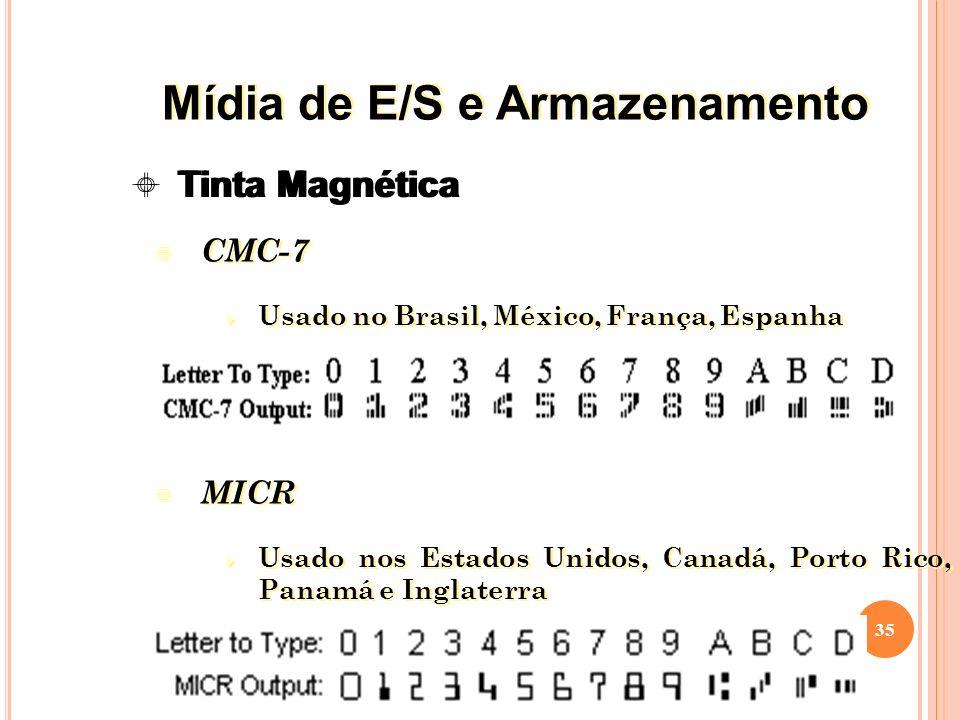 CMC-7 Usado no Brasil, México, França, Espanha MICR Usado nos Estados Unidos, Canadá, Porto Rico, Panamá e Inglaterra CMC-7 Usado no Brasil, México, França, Espanha MICR Usado nos Estados Unidos, Canadá, Porto Rico, Panamá e Inglaterra 35 Tinta Magnética Mídia de E/S e Armazenamento