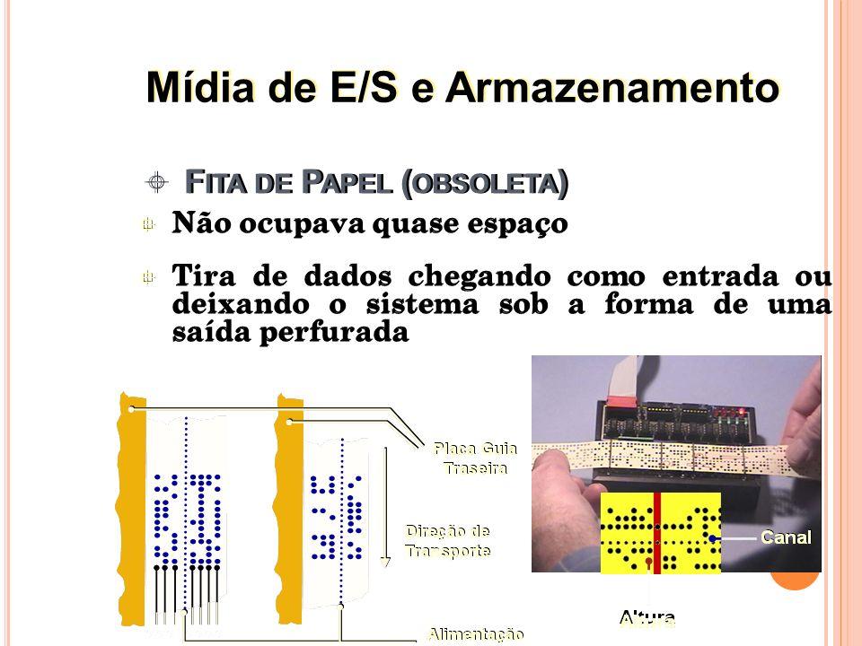 Mídia de armazenamento mais importante nos computadores atuais Tipos populares Discos flexíveis ( floppy disks ) Discos rígidos ( hard disks ) Dados gravados a partir da magnetização de partículas na superfície dos discos (dois modos: representação de uns e zeros ) Mídia de armazenamento mais importante nos computadores atuais Tipos populares Discos flexíveis ( floppy disks ) Discos rígidos ( hard disks ) Dados gravados a partir da magnetização de partículas na superfície dos discos (dois modos: representação de uns e zeros ) 15 Discos Magnéticos Mídia de E/S e Armazenamento