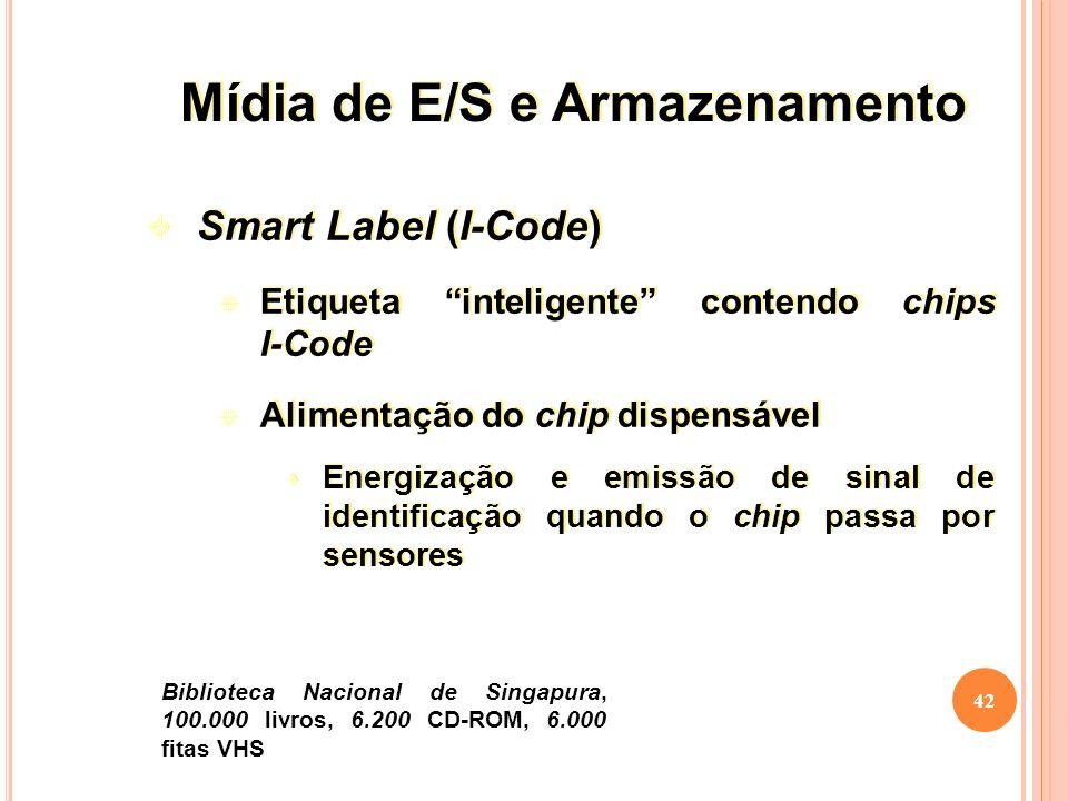 42 Smart Label (I-Code) Etiqueta inteligente contendo chips I-Code Alimentação do chip dispensável Energização e emissão de sinal de identificação quando o chip passa por sensores Smart Label (I-Code) Etiqueta inteligente contendo chips I-Code Alimentação do chip dispensável Energização e emissão de sinal de identificação quando o chip passa por sensores Biblioteca Nacional de Singapura, 100.000 livros, 6.200 CD-ROM, 6.000 fitas VHS Mídia de E/S e Armazenamento