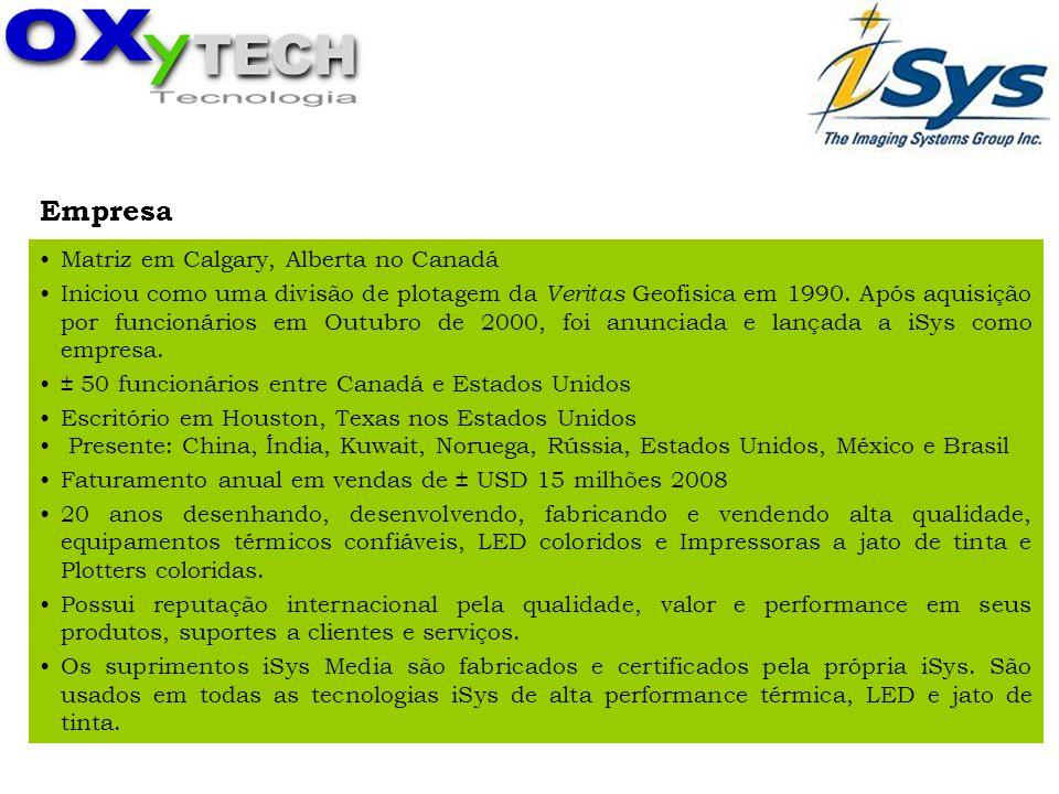 iSys - The Imagi ng Syste ms Group Inc. Empresa Matriz em Calgary, Alberta no Canadá Iniciou como uma divisão de plotagem da Veritas Geofisica em 1990