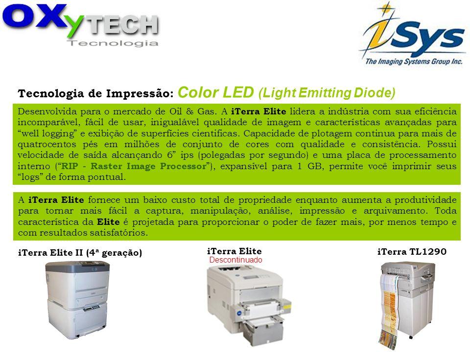 Tecnologia de Impressão: Color LED (Light Emitting Diode) Desenvolvida para o mercado de Oil & Gas. A iTerra Elite lidera a indústria com sua eficiênc