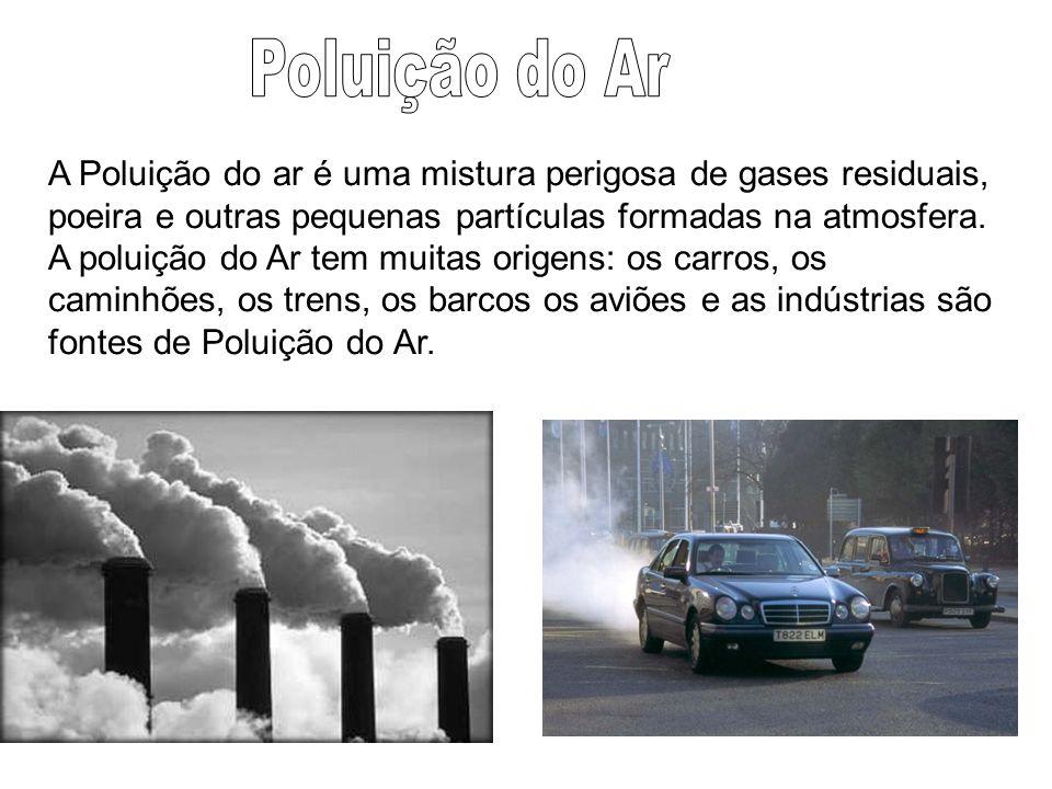 A Poluição do ar é uma mistura perigosa de gases residuais, poeira e outras pequenas partículas formadas na atmosfera. A poluição do Ar tem muitas ori