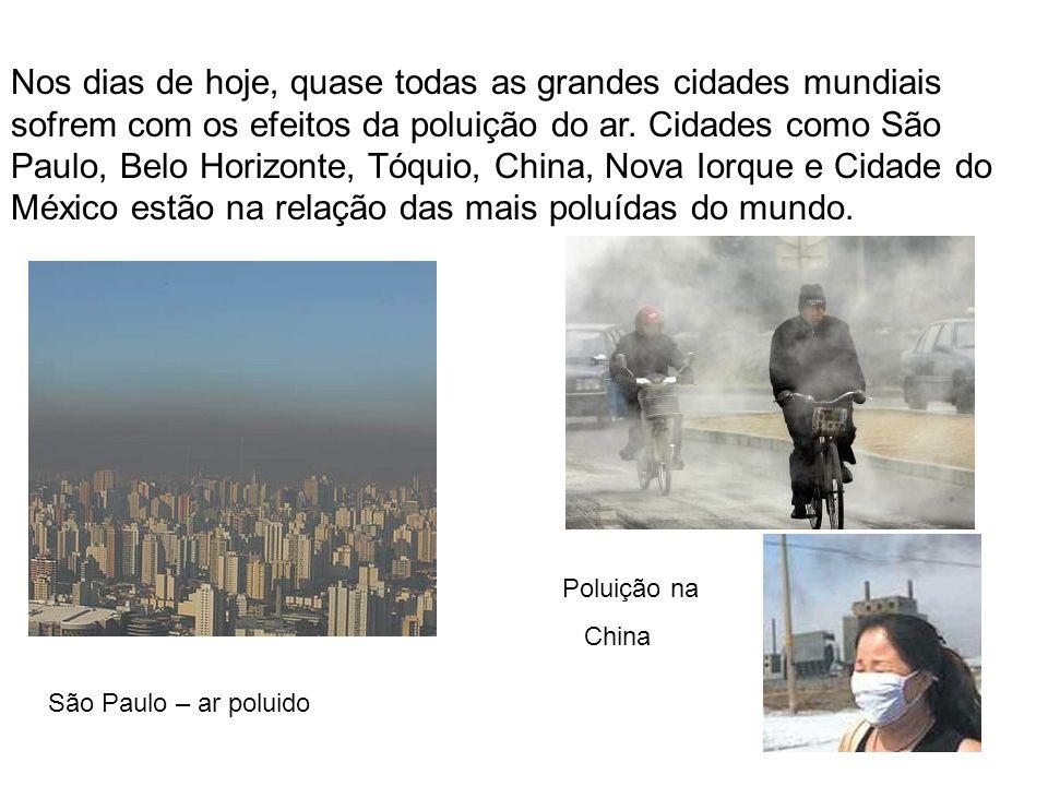 Nos dias de hoje, quase todas as grandes cidades mundiais sofrem com os efeitos da poluição do ar. Cidades como São Paulo, Belo Horizonte, Tóquio, Chi