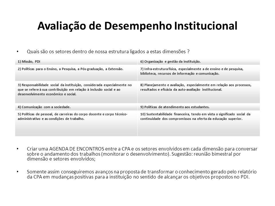 Avaliação de Desempenho Institucional Quais são os setores dentro de nossa estrutura ligados a estas dimensões ? Criar uma AGENDA DE ENCONTROS entre a