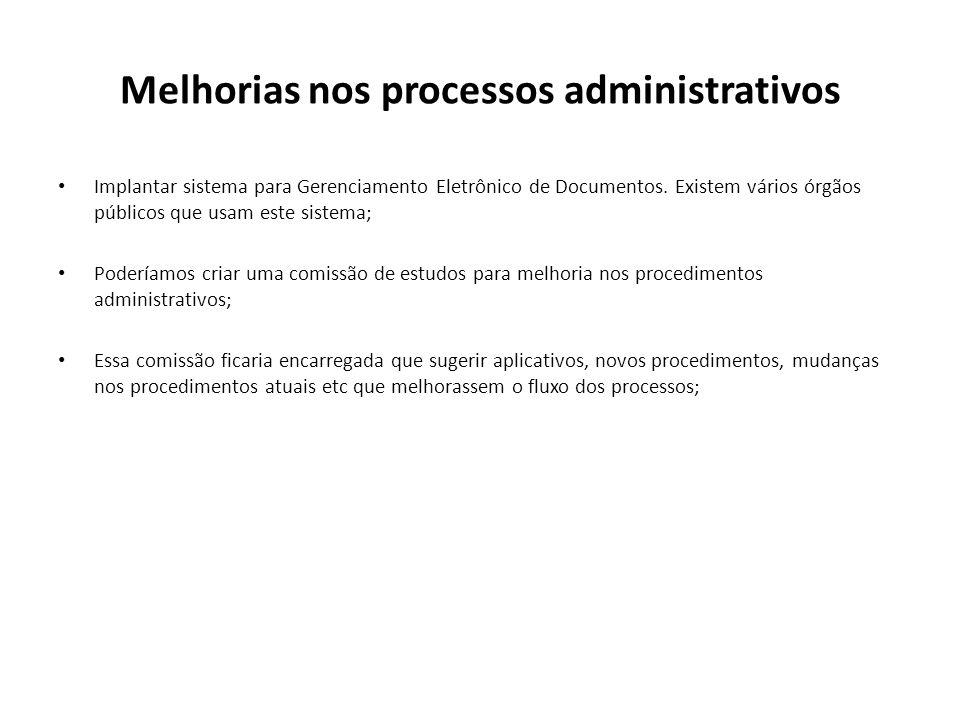 Melhorias nos processos administrativos Implantar sistema para Gerenciamento Eletrônico de Documentos. Existem vários órgãos públicos que usam este si