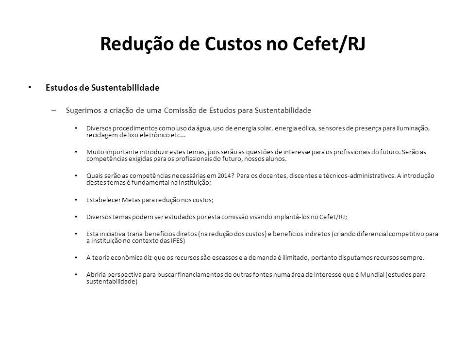 Redução de Custos no Cefet/RJ Estudos de Sustentabilidade – Sugerimos a criação de uma Comissão de Estudos para Sustentabilidade Diversos procedimento