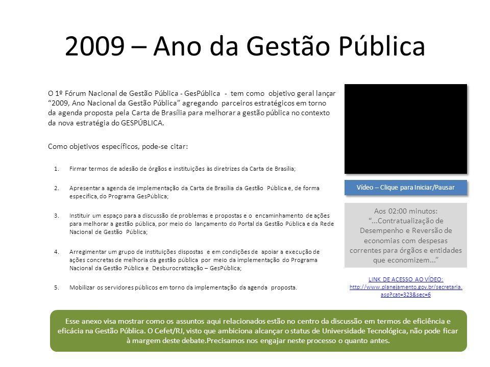 2009 – Ano da Gestão Pública O 1º Fórum Nacional de Gestão Pública - GesPública - tem como objetivo geral lançar 2009, Ano Nacional da Gestão Pública