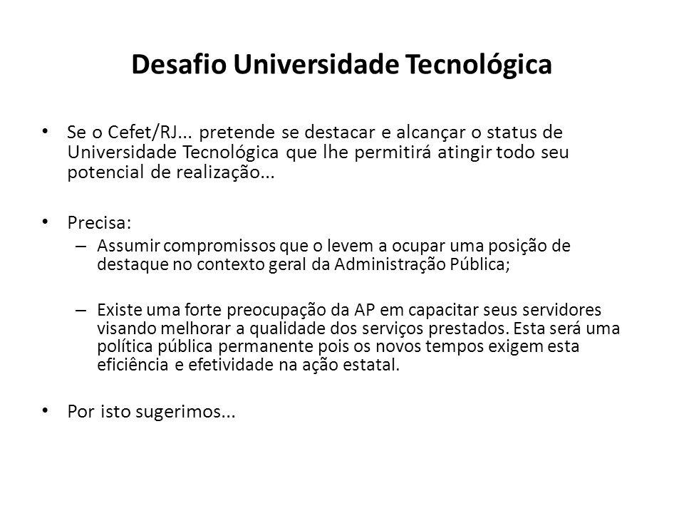Desafio Universidade Tecnológica Se o Cefet/RJ... pretende se destacar e alcançar o status de Universidade Tecnológica que lhe permitirá atingir todo