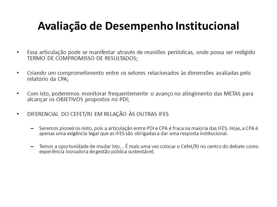 Avaliação de Desempenho Institucional Essa articulação pode se manifestar através de reuniões periódicas, onde possa ser redigido TERMO DE COMPROMISSO DE RESULTADOS; Criando um comprometimento entre os setores relacionados às dimensões avaliadas pelo relatório da CPA; Com isto, poderemos monitorar frequentemente o avanço no atingimento das METAS para alcançar os OBJETIVOS propostos no PDI; DIFERENCIAL DO CEFET/RJ EM RELAÇÃO ÀS OUTRAS IFES – Seremos pioneiros nisto, pois a articulação entre PDI e CPA é fraca na maioria das IFES.