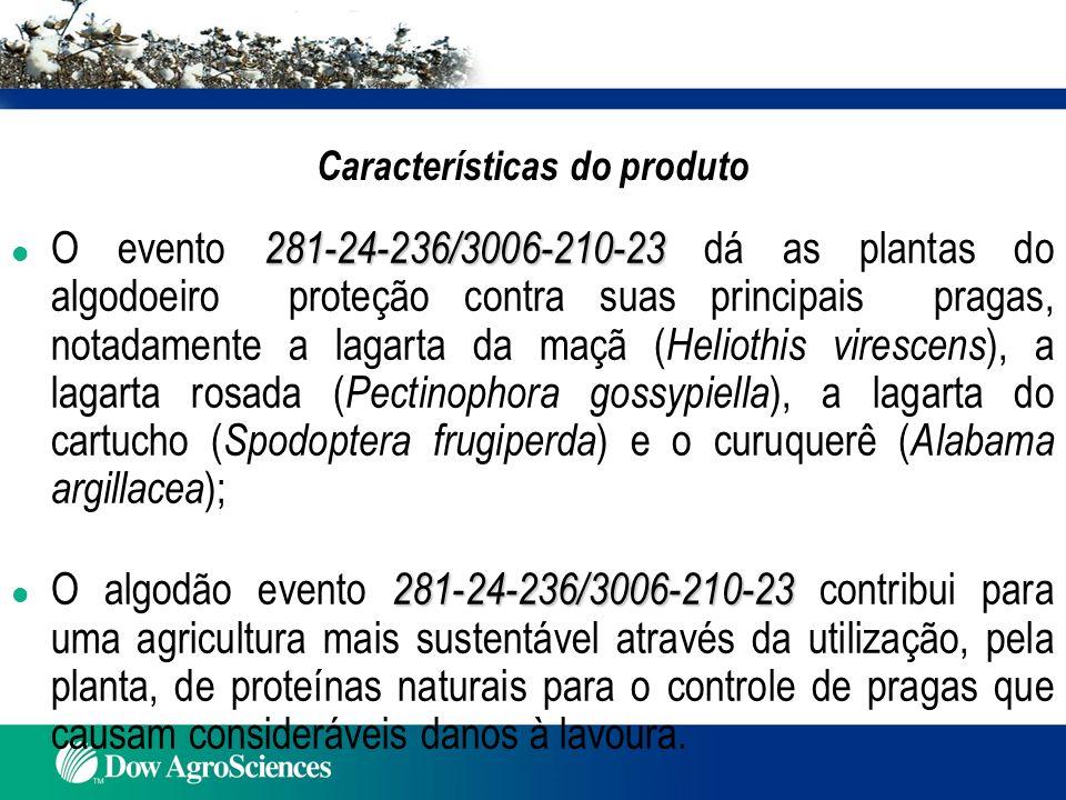 l As características agronômicas do algodão WideStrike são similares às características observadas em plantas do algodão convencional (Audiência Pública, 2007, Algodão Evento 281-24-236/3006-210-23), processo CTNBio n o 01200.005322/2006-55 ); l As análises da composição e valor nutricional do algodão com o evento 281-24-236/3006-210-23 comparadas com as do algodão comum confirmam que os nutrientes não diferem nos dois tipos de algodão (Phillips et al., 2002); l A equivalência substancial foi demonstrada através de análises composicionais de minerais, de lipídeos, de proteínas, carboidratos, fibra bruta, fibra em detergente ácido (FDA) e fibra em detergente neutro (FDN), e em sementes de algodão WideStrike comparadas com algodão convencional (Phillips et al., 2002); l Vários estudos tem demonstrado que as proteínas Cry1F, Cry1Ac e PAT presentes no algodão com o evento 281-24-236/3006-210-23 são seguras para o consumo humano e animal (EPA,1995b,1996,2000).