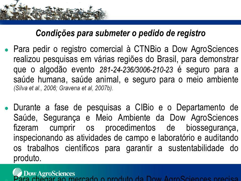 281-24-236/3006-210-23 Aprovações do Algodão Evento 281-24-236/3006-210-23 l Para cultivo comercial, como alimento humano e alimentação animal : EUA (2004) l Para importação como: Alimento: México (2004); Coréia e Austrália (2005) Alimento e alimentação animal: Canadá (2005) e Japão (2006) (Agbios, 2007).