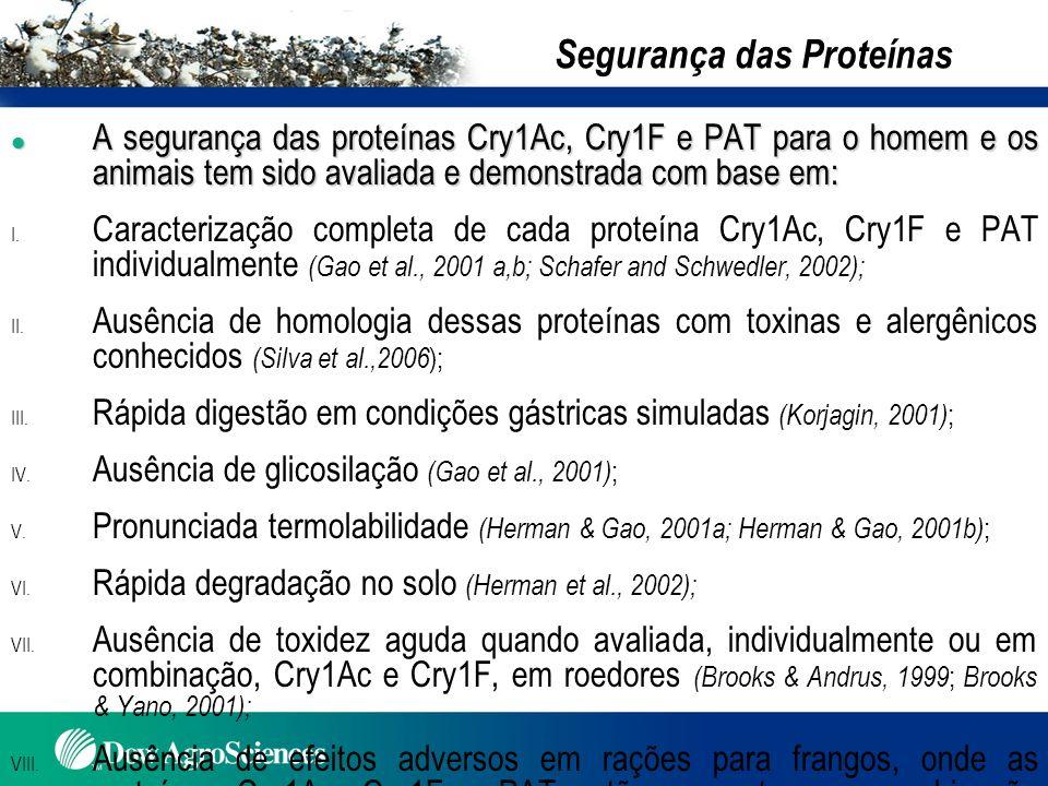 Segurança das Proteínas l A segurança das proteínas Cry1Ac, Cry1F e PAT para o homem e os animais tem sido avaliada e demonstrada com base em: I. Cara