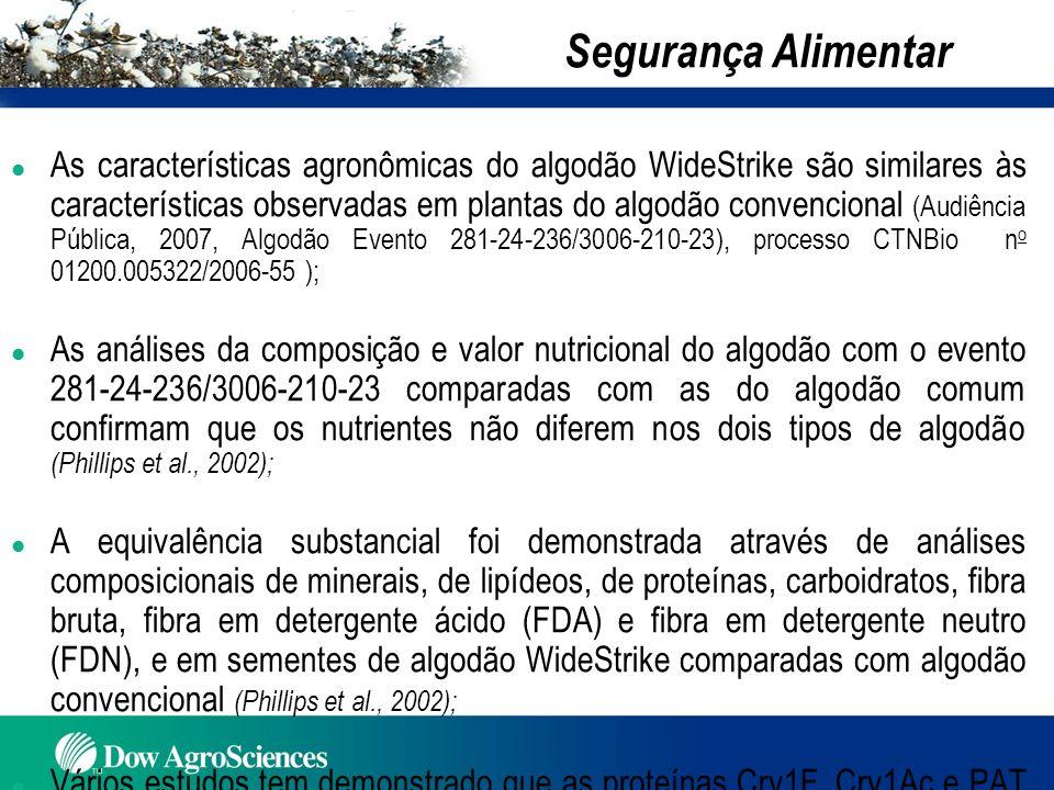 l As características agronômicas do algodão WideStrike são similares às características observadas em plantas do algodão convencional (Audiência Públi