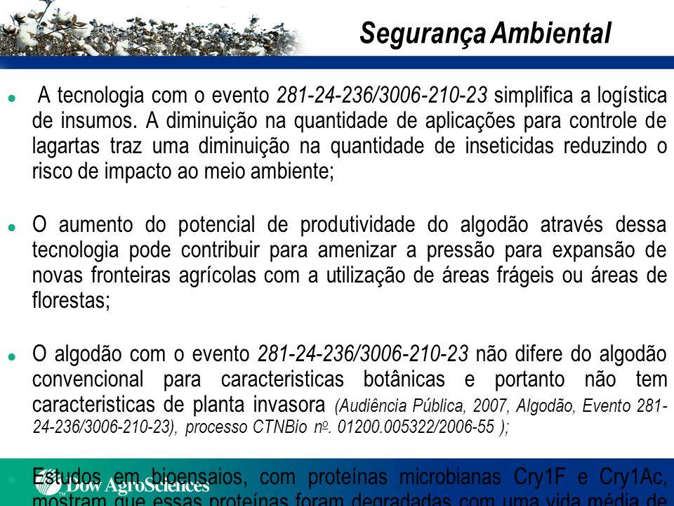 l A tecnologia com o evento 281-24-236/3006-210-23 simplifica a logística de insumos. A diminuição na quantidade de aplicações para controle de lagart
