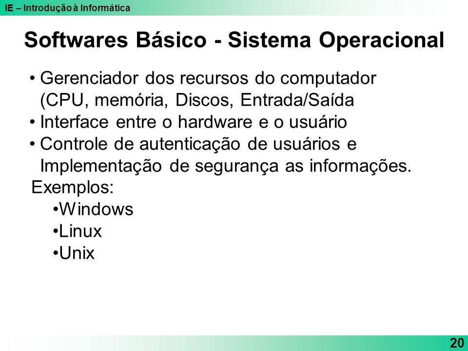 IE – Introdução à Informática 20 Softwares Básico - Sistema Operacional Gerenciador dos recursos do computador (CPU, memória, Discos, Entrada/Saída In