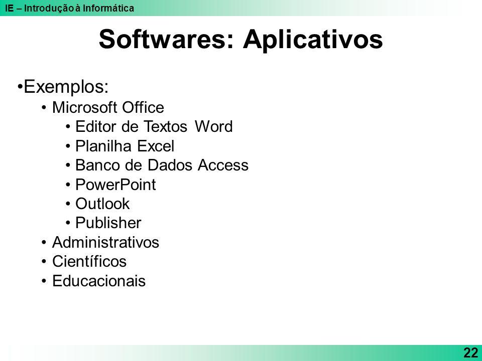IE – Introdução à Informática 22 Exemplos: Microsoft Office Editor de Textos Word Planilha Excel Banco de Dados Access PowerPoint Outlook Publisher Ad
