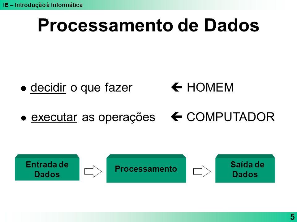 IE – Introdução à Informática 5 Processamento de Dados decidir o que fazer HOMEM executar as operações COMPUTADOR Entrada de Dados Saída de Dados Proc
