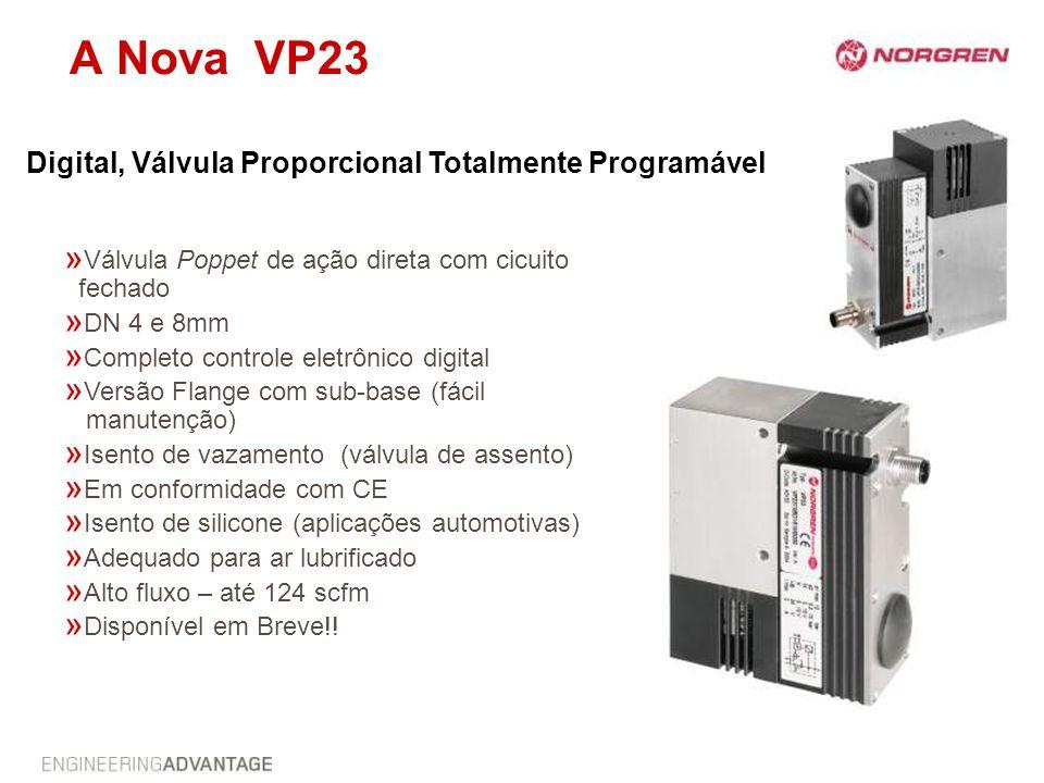 A Nova VP23 » Válvula Poppet de ação direta com cicuito fechado » DN 4 e 8mm » Completo controle eletrônico digital » Versão Flange com sub-base (fáci