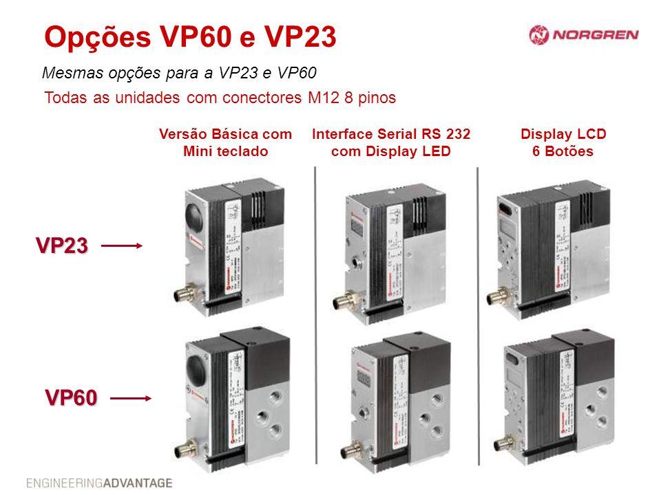 Opções VP60 e VP23 Mesmas opções para a VP23 e VP60 Versão Básica com Mini teclado Interface Serial RS 232 com Display LED Display LCD 6 Botões VP23 V