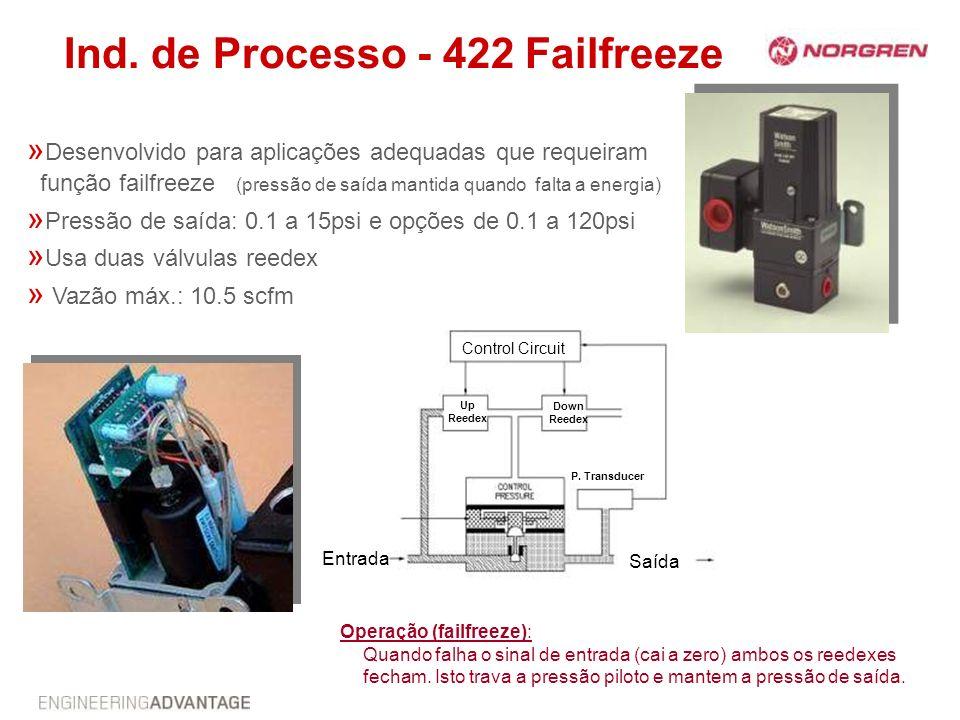 Ind. de Processo - 422 Failfreeze » Desenvolvido para aplicações adequadas que requeiram função failfreeze (pressão de saída mantida quando falta a en