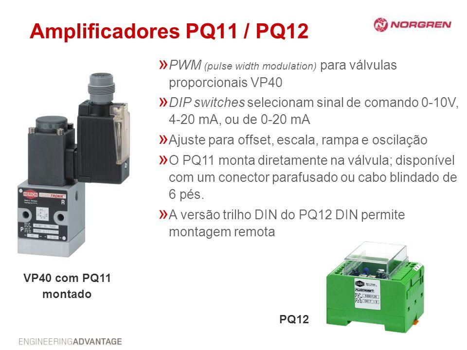 Amplificadores PQ11 / PQ12 » PWM (pulse width modulation) para válvulas proporcionais VP40 » DIP switches selecionam sinal de comando 0-10V, 4-20 mA,