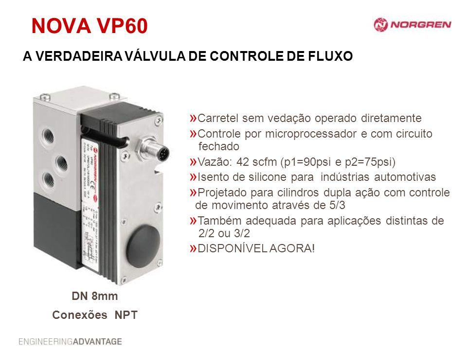 NOVA VP60 » Carretel sem vedação operado diretamente » Controle por microprocessador e com circuito fechado » Vazão: 42 scfm (p1=90psi e p2=75psi) » I