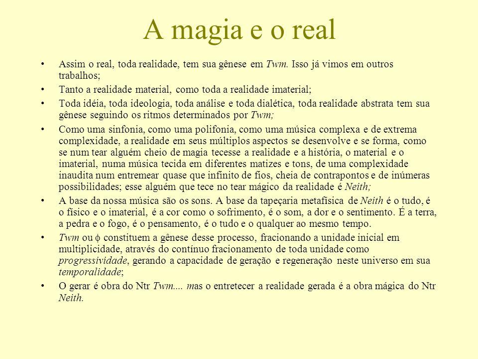 A magia e o real Assim o real, toda realidade, tem sua gênese em Twm. Isso já vimos em outros trabalhos; Tanto a realidade material, como toda a reali