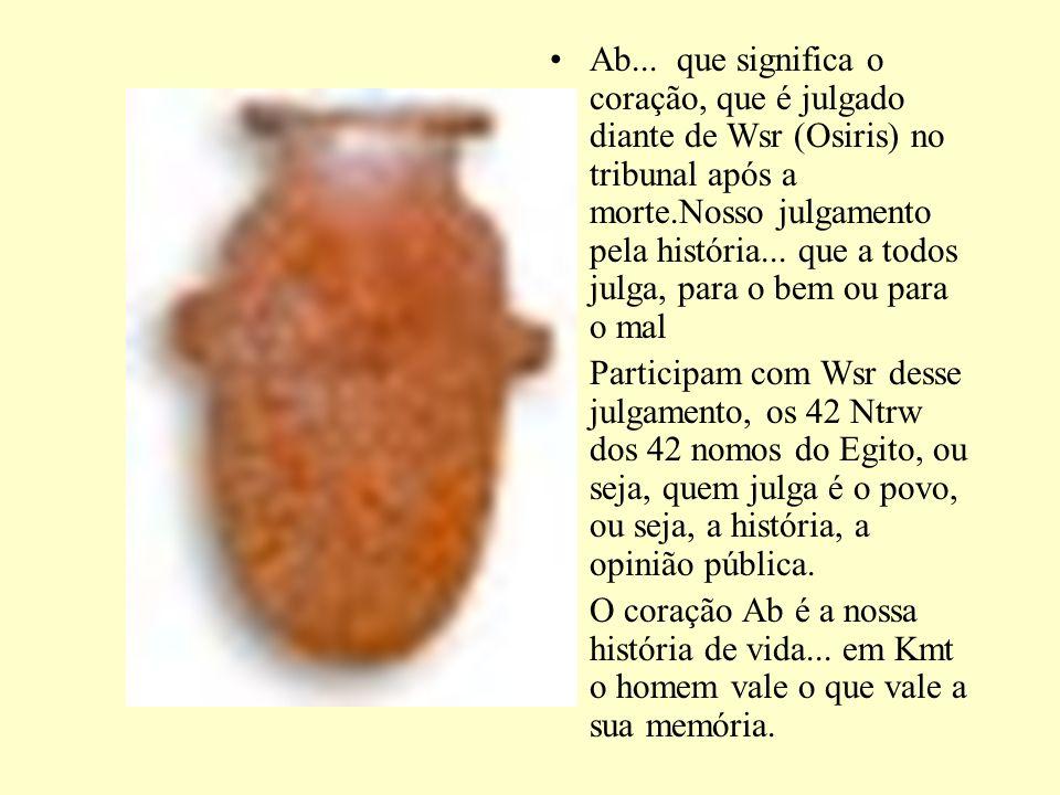 Ab... que significa o coração, que é julgado diante de Wsr (Osiris) no tribunal após a morte.Nosso julgamento pela história... que a todos julga, para