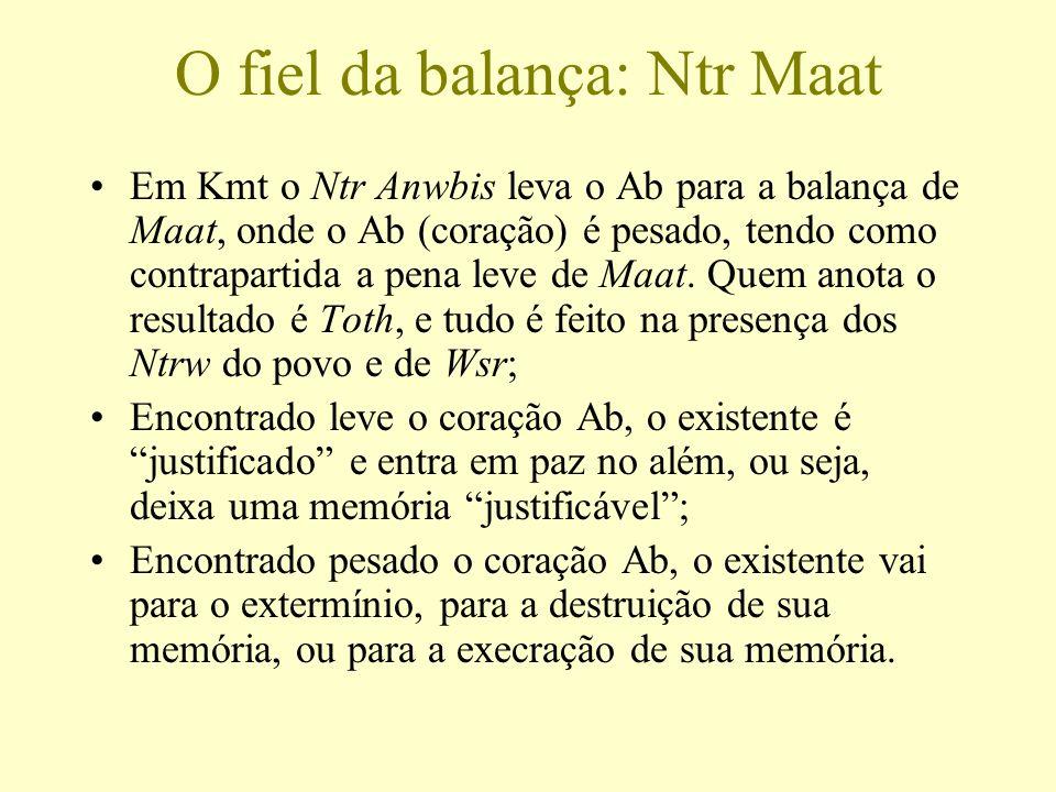 O fiel da balança: Ntr Maat Em Kmt o Ntr Anwbis leva o Ab para a balança de Maat, onde o Ab (coração) é pesado, tendo como contrapartida a pena leve d