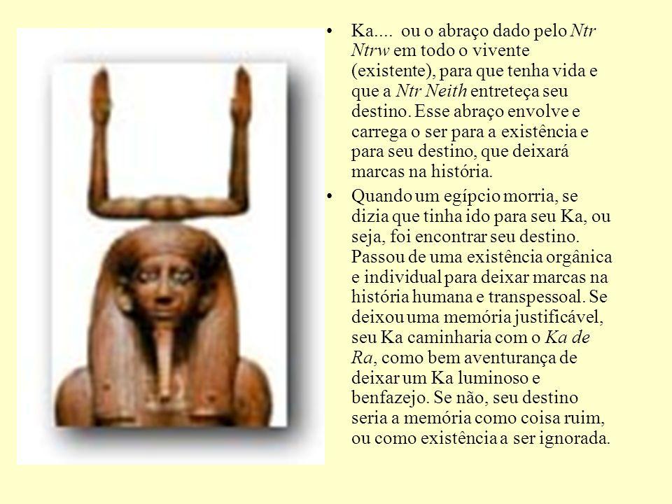 Ka.... ou o abraço dado pelo Ntr Ntrw em todo o vivente (existente), para que tenha vida e que a Ntr Neith entreteça seu destino. Esse abraço envolve