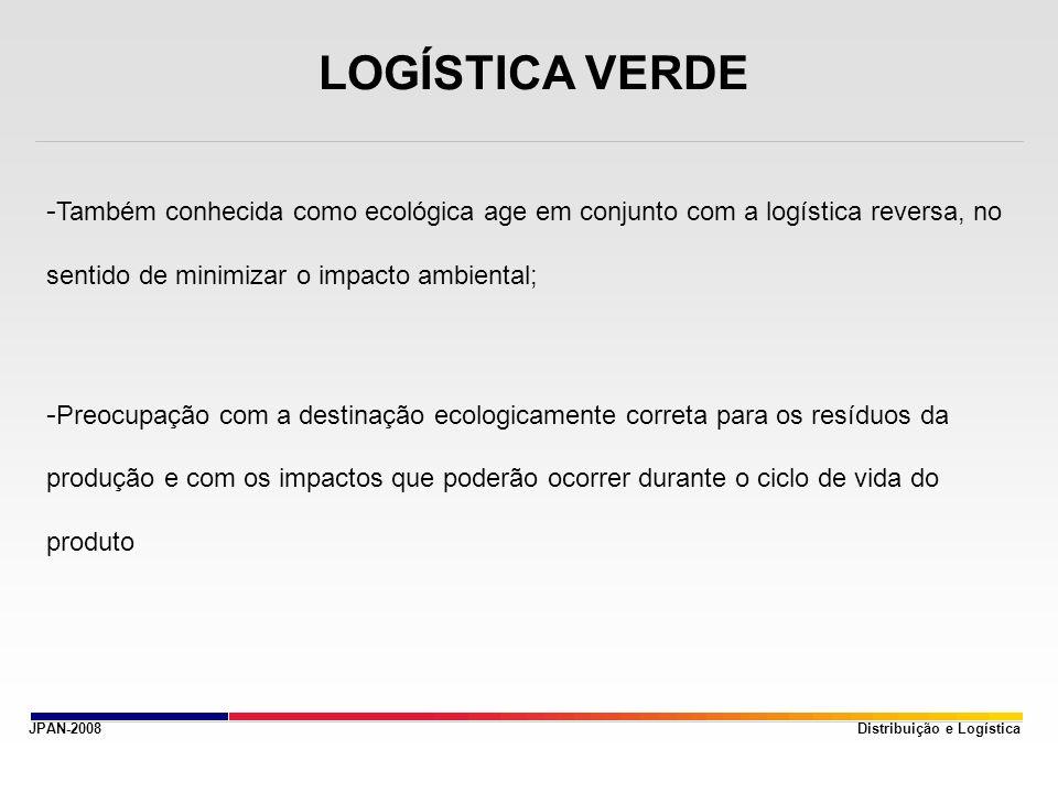 JPAN-2008 LOGÍSTICA VERDE - Também conhecida como ecológica age em conjunto com a logística reversa, no sentido de minimizar o impacto ambiental; - Pr