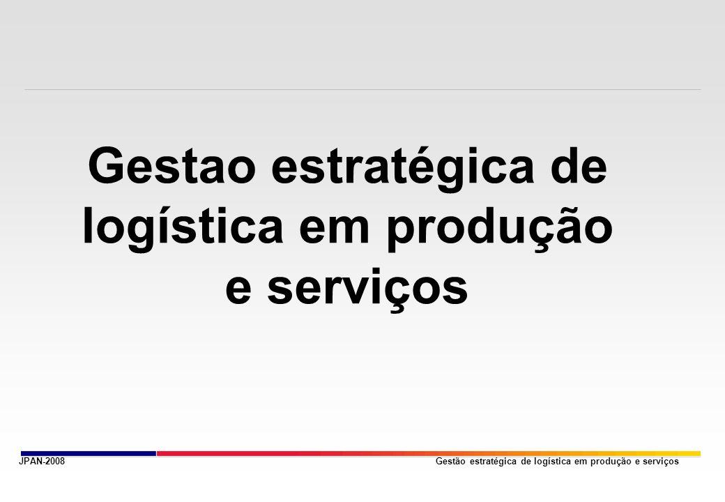 Gestão estratégica de logística em produção e serviços OBJETIVOS - Entender o conceito da administração da produção e operações - Entender o gerenciamento de serviços - Planejamento e controle da produçao ( PCP ) - Plano mestre de produçao ( MPS ) - Planejamento dos recursos empresariais ( ERP ) - Controle e gerenciamento da cadeia de suprimentos JPAN-2008