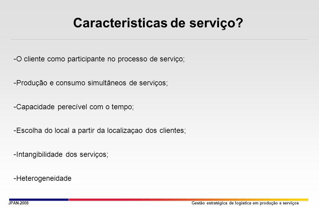 Gestão estratégica de logística em produção e serviços Caracteristicas de serviço? - O cliente como participante no processo de serviço; - Produção e