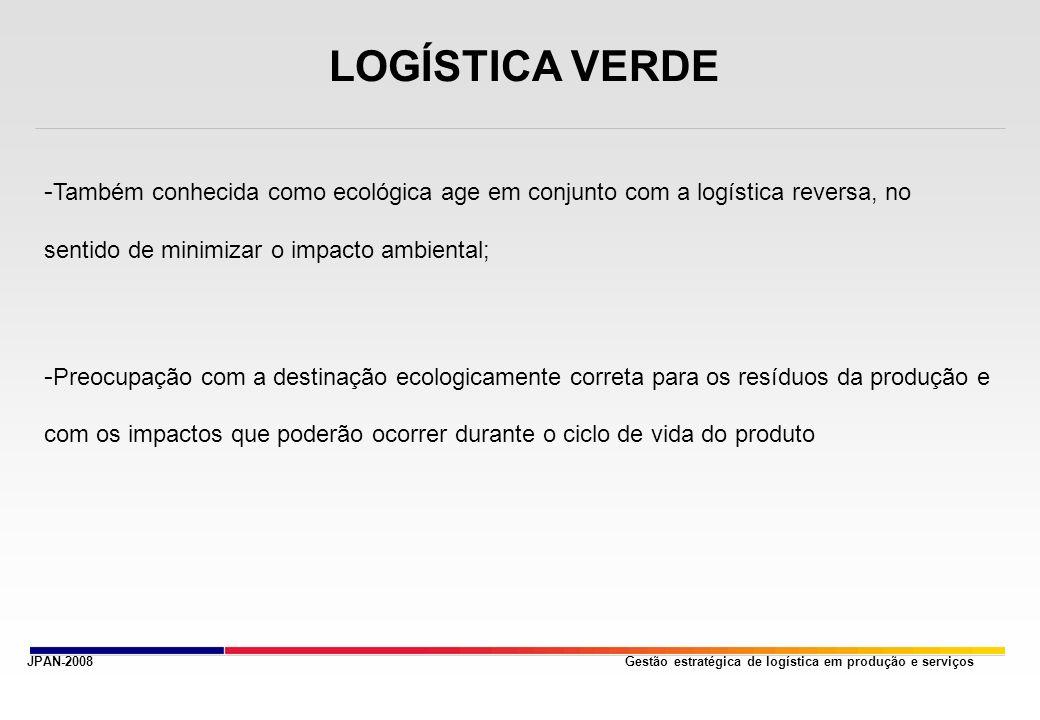 Gestão estratégica de logística em produção e serviçosJPAN-2008 LOGÍSTICA VERDE - Também conhecida como ecológica age em conjunto com a logística reversa, no sentido de minimizar o impacto ambiental; - Preocupação com a destinação ecologicamente correta para os resíduos da produção e com os impactos que poderão ocorrer durante o ciclo de vida do produto