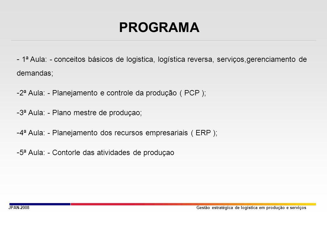 Gestão estratégica de logística em produção e serviços PROGRAMA - 1ª Aula: - conceitos básicos de logistica, logística reversa, serviços,gerenciamento de demandas; - 2ª Aula: - Planejamento e controle da produção ( PCP ); - 3ª Aula: - Plano mestre de produçao; - 4ª Aula: - Planejamento dos recursos empresariais ( ERP ); - 5ª Aula: - Contorle das atividades de produçao JPAN-2008