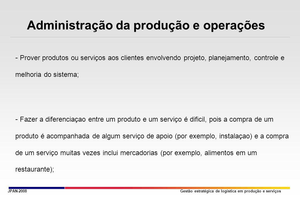 Gestão estratégica de logística em produção e serviços Administração da produção e operações - Prover produtos ou serviços aos clientes envolvendo pro
