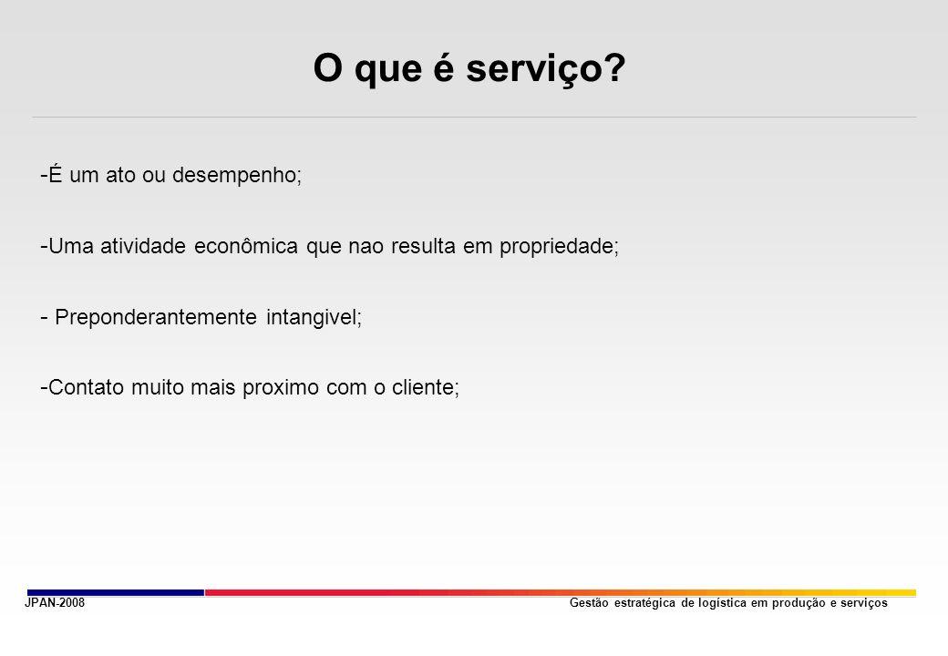 Gestão estratégica de logística em produção e serviços O que é serviço.