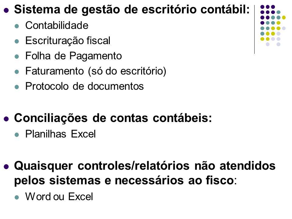 Sistema de gestão de escritório contábil: Contabilidade Escrituração fiscal Folha de Pagamento Faturamento (só do escritório) Protocolo de documentos