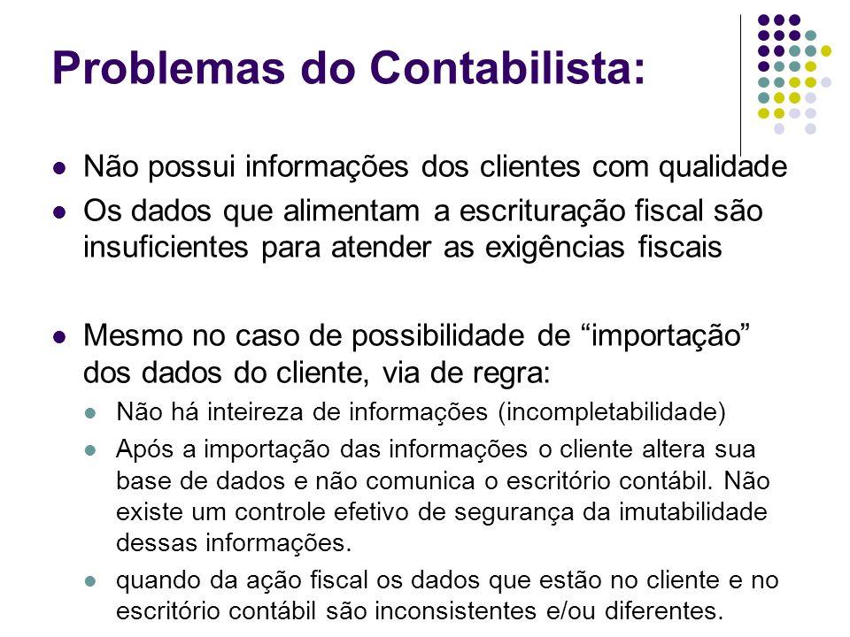 Problemas do Contabilista: Não possui informações dos clientes com qualidade Os dados que alimentam a escrituração fiscal são insuficientes para atend