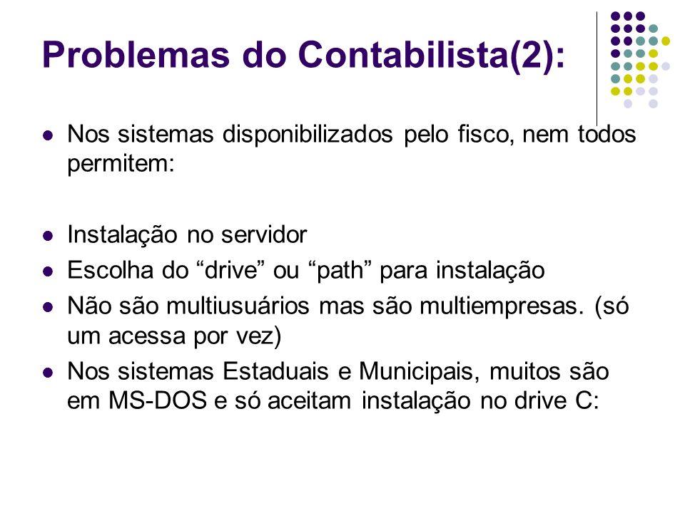 Problemas do Contabilista(2): Nos sistemas disponibilizados pelo fisco, nem todos permitem: Instalação no servidor Escolha do drive ou path para insta