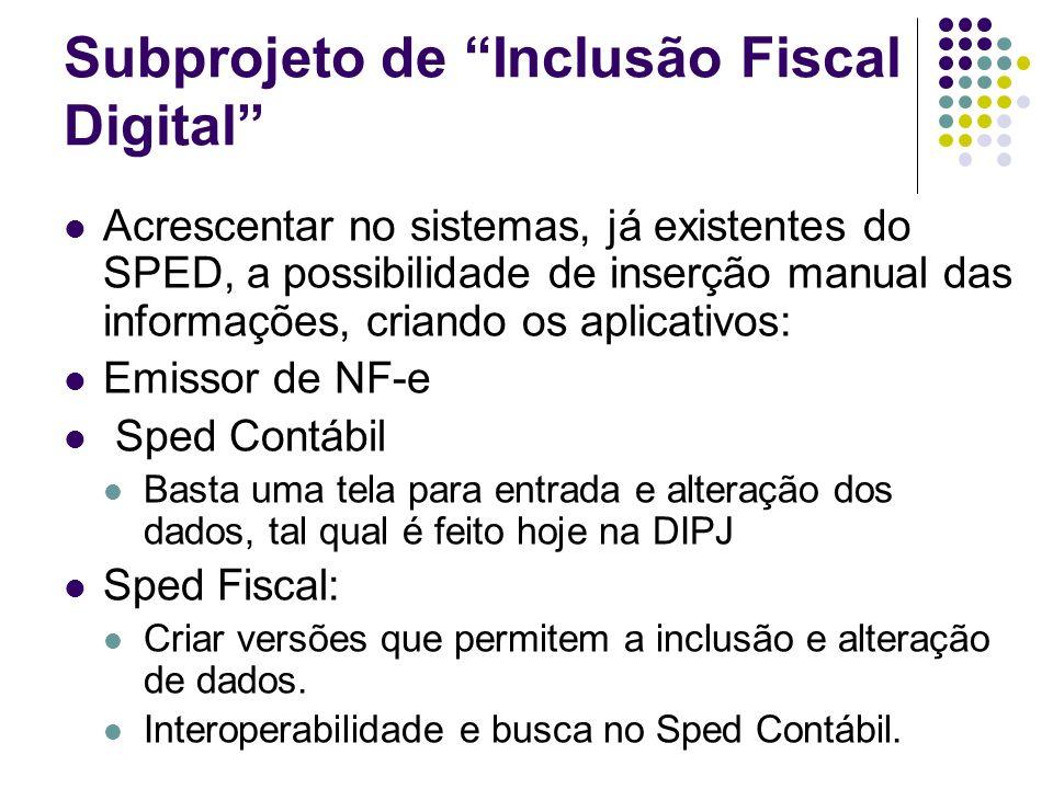Subprojeto de Inclusão Fiscal Digital Acrescentar no sistemas, já existentes do SPED, a possibilidade de inserção manual das informações, criando os a