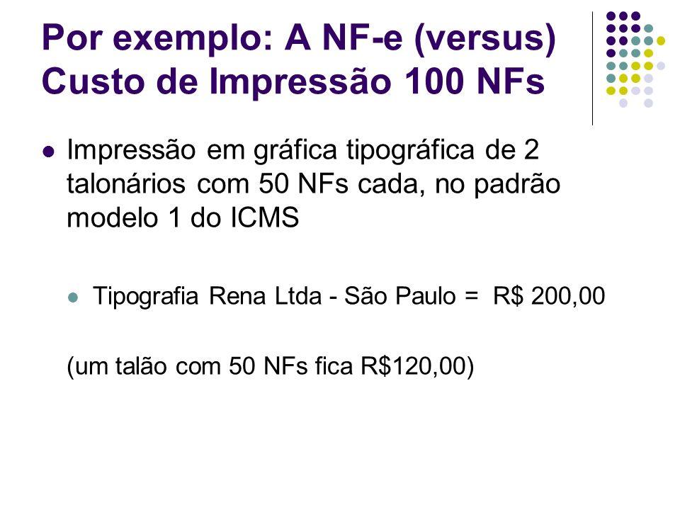 Por exemplo: A NF-e (versus) Custo de Impressão 100 NFs Impressão em gráfica tipográfica de 2 talonários com 50 NFs cada, no padrão modelo 1 do ICMS T