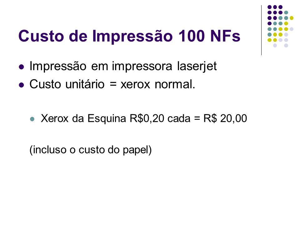 Custo de Impressão 100 NFs Impressão em impressora laserjet Custo unitário = xerox normal. Xerox da Esquina R$0,20 cada = R$ 20,00 (incluso o custo do